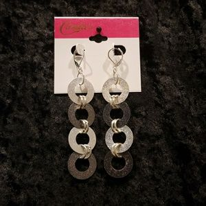 Dangle Lever back Earrings, sparkly silver